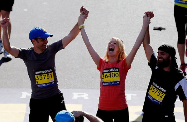 A Boston Marathon bombing survivor finishes the race. From popsugar.com.