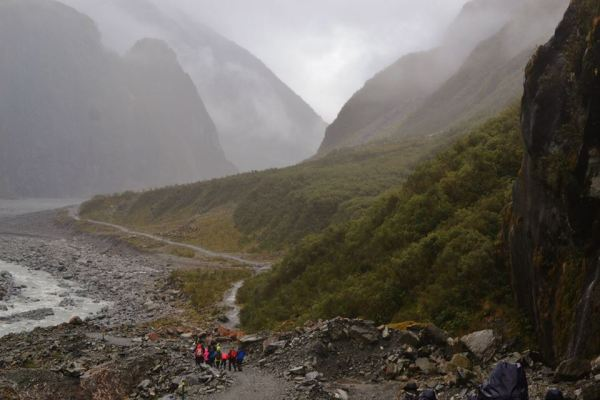 Hiking to Fox Glacier on a rainy day.