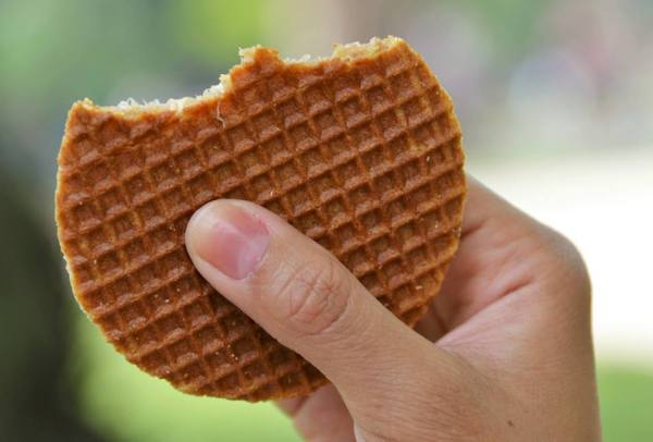 Stroopwafels: a Dutch dessert consisting of two thin waffles with caramel in between them.